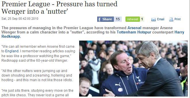 Harry Redknapp taking on Arsene Wenger